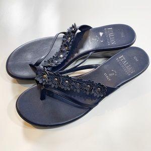 Italian Shoemaker | Navy Blue Sandals Flower